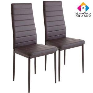 Set di 2 sedie per sala da pranzo tavolo cucina eleganti moderne robusto marrone ebay - Sedie per tavolo da pranzo ...