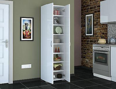 Tall 8 Shelves 183 Cm White Finish Cupboard Storage Unit Cabinet Kitchen