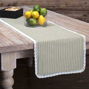 KENDRA STRIPE GREEN Table Runner French Country Stripe Lace Farmhouse 13x72