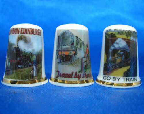 Set of Three Birchcroft China Thimbles Train Journey Posters