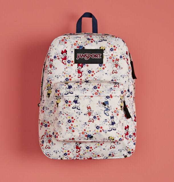 JanSport Disney Superbreak Backpack Bag Floral Minnie Mouse ...