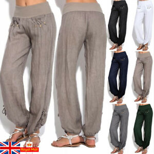 UK-Women-Casual-Harem-Pants-Baggy-Wide-Leg-Gypsy-Yoga-Loose-Palazzo-Trousers