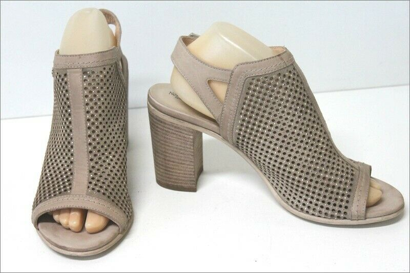 KEYS Leather Sandals Tulle netting Beige Hauts Heels T 40 VERY GOOD CONDITION
