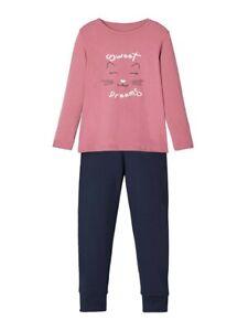 NAME-IT-Pyjama-Schlafanzug-dunkelrosa-Glitter-Cat-Groesse-86-92-bis-110-116
