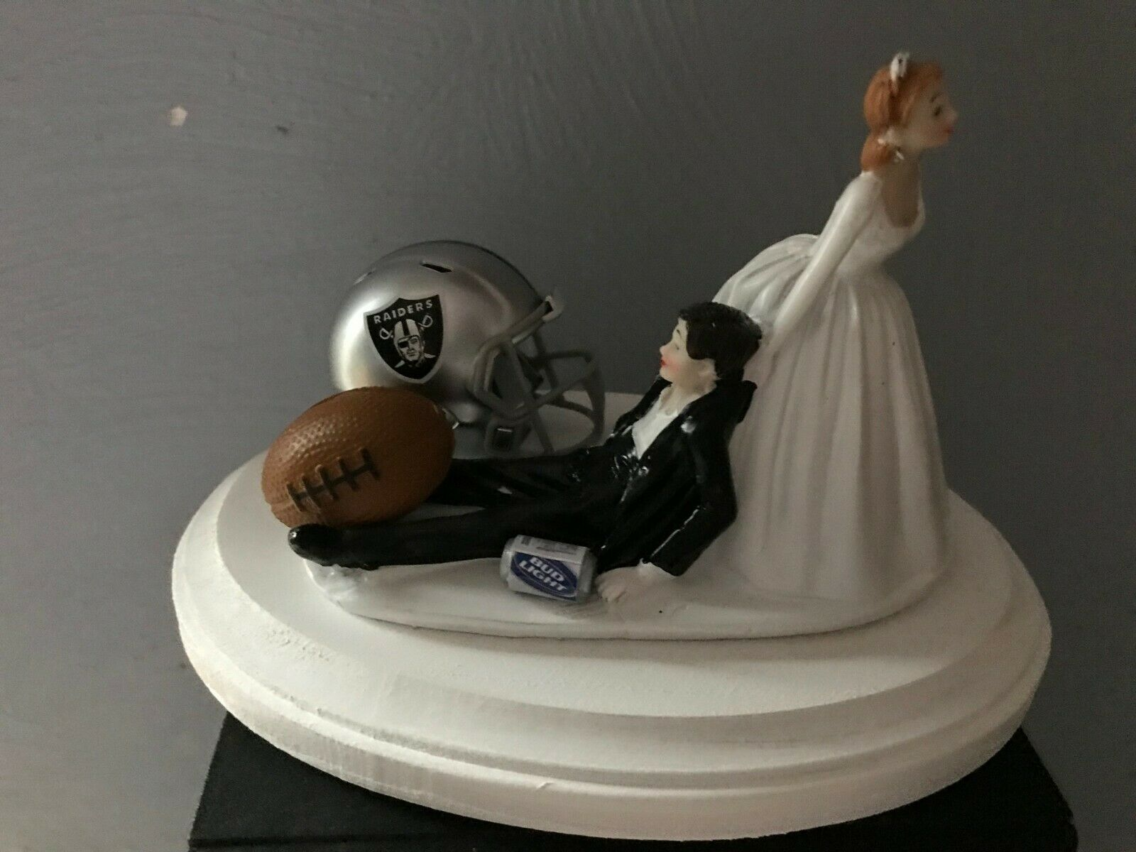 Oakland Raiders Cake Topper Bride Groom Wedding day Funny Football Theme