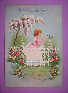 Vintage get well young girl bluebird flowers mica unused greeting image is loading vintage get well young girl bluebird amp flowers m4hsunfo