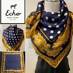 ECHO-100-Silk-Satin-Navy-White-Gold-Spotted-Foulard-SCARF-88cm-x-88cm-Vintage
