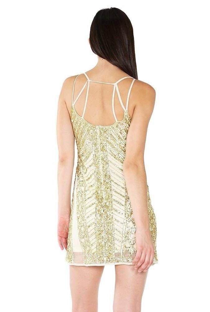 320 gold Label Wow Couture Taupe Sequin Sequin Sequin Beaded Camisole Shift Dress 4 6 W231 94f24b