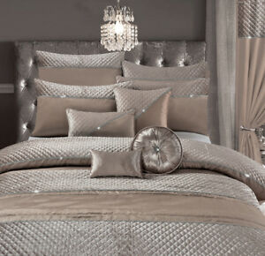 Home-Harmony-Jade-Mink-Quilted-Velvet-Diamante-Bedding-Bedroom-Collection