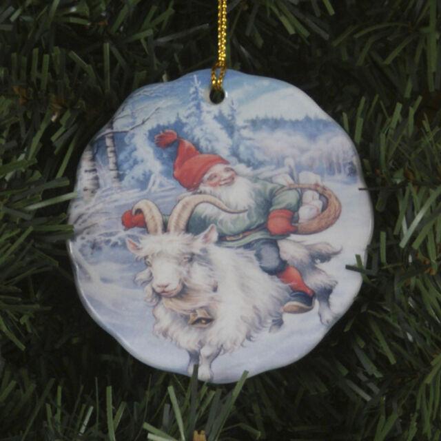 scandinavian swedish christmas ceramic ornament lars carlsson tomte on goat 181b