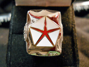 Classic-1960s-Style-RED-CHRYSLER-PENTASTAR-LOGO-Closionne-Nickel-Silver-Ring