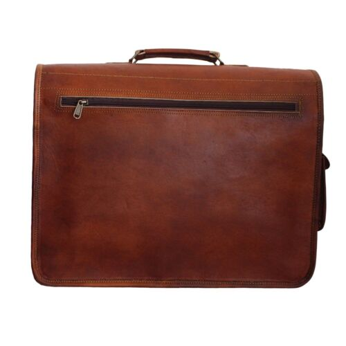 Vintage Art Messenger Shoulder Briefcase Laptop Bag Leather Men/'s Genuine Brown