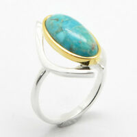 Barse Jewelry Sterling Silver, Gold Plate And Turquoise Elongated Ring Size 8