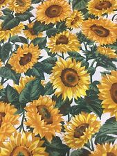 Sunflowers White Background Joan Messmore Cotton Fabric Quilt Sew BTY OOP