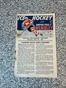 Wembley Empire Pool - Wembley Lions - Ice Hockey Programme 07/05/1955