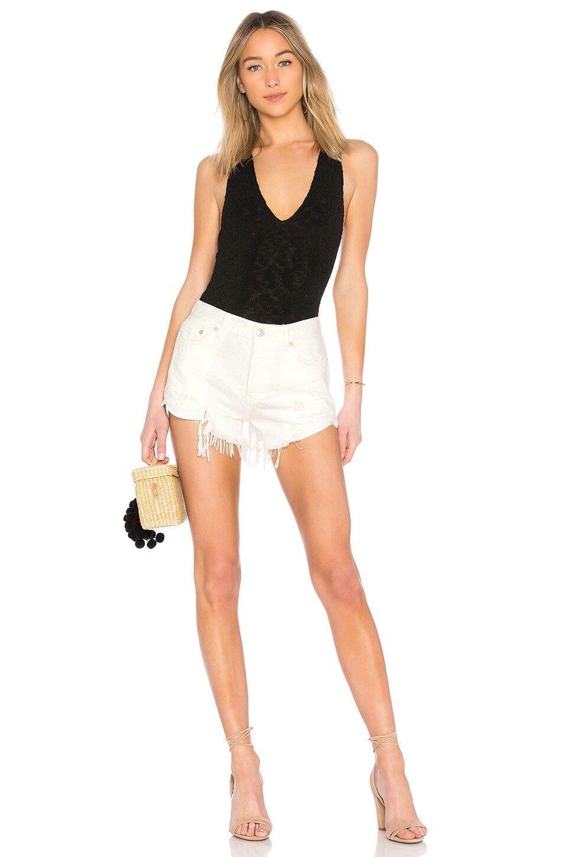 Free People Brand Jeans Fashion Women Vintage White Denim Shorts Loving Good Vib