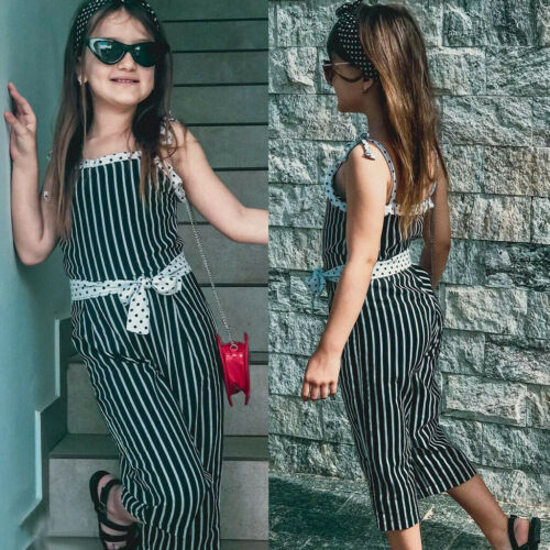 Toddler Kids Baby Girl Stripe Bow Strap Sleeveless Romper Jumpsuit Pants Outfit