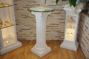 Blumensaeule-Stand-Saeule-Runder-Glas-Beistelltisch-Blumenstaender-Telefontisch