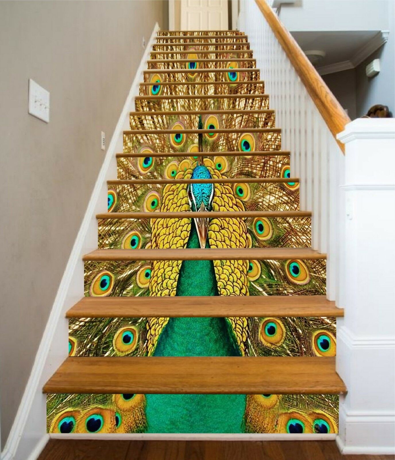3D Peacock Paint Stair Risers Dekoration Foto Mural Vinyl Decal Wallpaper UK