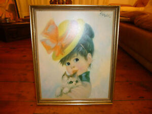 Vintage-cute-GIRL-WITH-KITTEN-Picture-Art-034-Harriet-034-Stev-1960s-Kitsch-Retro-Cat