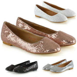 Womens-Slip-On-Shoes-Sequins-Flower-Girl-Ladies-Flat-Bridal-Party-Pumps-Size-3-9