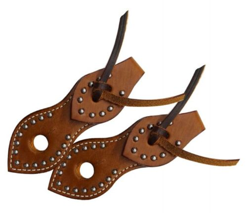 Western Leather With Silver Studs Slobber Straps For Horse Bridle Reins Mecate