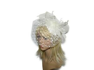 BEAUTIFUL-CREAM-FASCINATOR-HAT-WEDDING-HAIR-ACCESSORIES-WITH-FEATHERS-BOW-ASCOT
