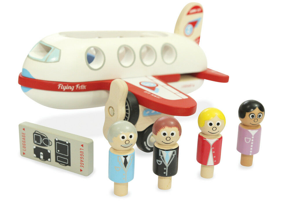 Indigo Jamm Flying Felix, Wooden Plane Playset, Removable Roof and Passengers