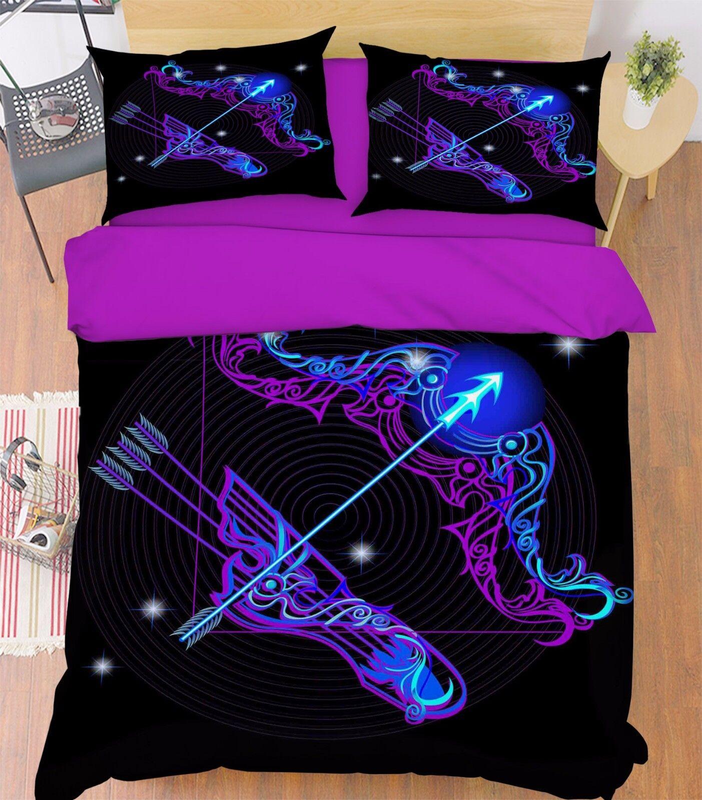 3D Sagittarius 2 Bed Pillowcases Quilt Duvet Cover Set Single Queen King Size AU