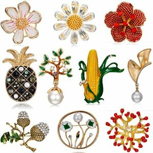 Sunflower-Pineapple-Pearl-Rhinestone-Costume-Brooch-Pin-Women-Jewelry-Gift-New