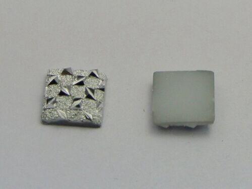 200 Silver Flatback Acrylic Glitter Stardust Square Rhinestone Cabochons 10X10mm