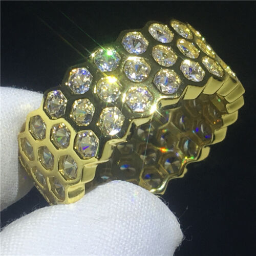 Women Yellow Gold Filled Round Cut Cz Paved Eternity Wedding Band Rings Jewelry