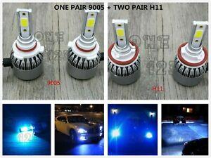 9005-H11-H11-LED-Headlights-High-amp-Low-Beam-Fog-Lights-8000K-ICE-BLUE-55W-8000LM