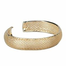 Yellow Gold-Tone Mesh Open Clasp Teens Womens Mens Bangle Bracelet 57mm