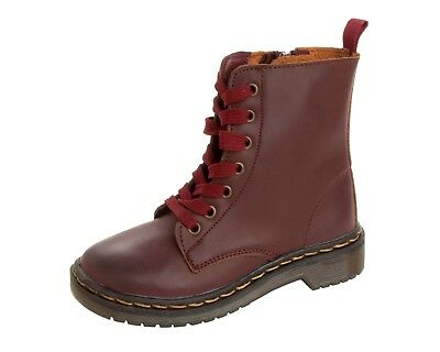GIRLS BURGUNDY ZIPPER ANKLE FASHION LACE UP COMBAT STYLE BOOTS SHOES UK SIZE 9-2