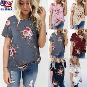 795f1ecb17e5db Womens Floral Print Tops Blouse Summer Short Sleeve T-Shirt Tee Plus ...