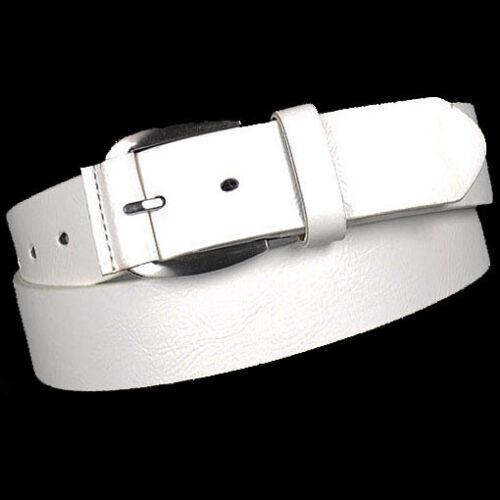 Damen Herren Jeans Gürtel mit Leder Rückseite weiß 3,8 cm breit Jeansgürtel
