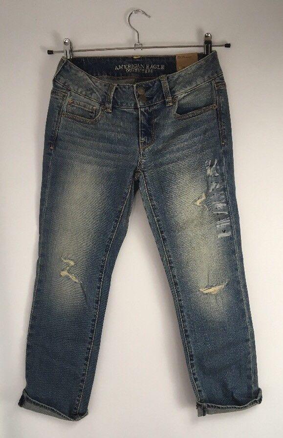 NWT AMERICAN EAGLE Women's Jeans Sz 2 Artist Crop Light Wash Distress Stretch