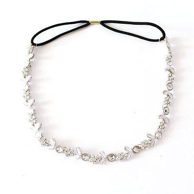 Lady's Silver Plated Crystal Flower Elastic Hair Band Headband New