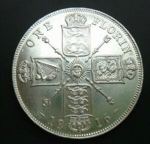 UK-1916-FLORIN-HIGH-GRADE-GEORGE-V-BRITISH-SILVER-FLORIN-ref-SPINK-4012-Cc2