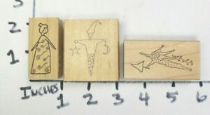 Wooden-RUBBER-STAMP-RubberMoon-Dave-Brethauer-Lot-Clown-Elf-Fairy-Jester-Woman