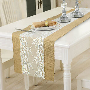 5x Rustic Hessian Table Runner Cloth Natural Burlap Lace Wedding ...