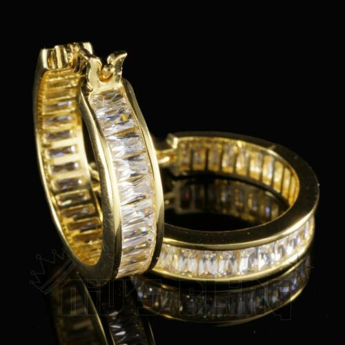 18K Gold ICED OUT Simulated Diamond Emerald Cut Channel Set Huggie Hoop Earring