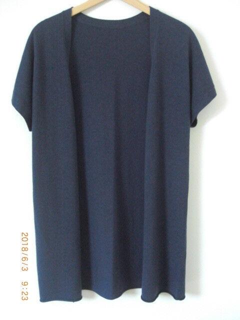 EAST Cotton Cotton Cotton Wool Cashmere Summer Denim bluee Marl Long Open Gilet Cardigan S M 51f033