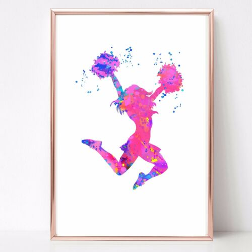 cheer leader cheerleading print Watercolor a4  wall art picture gift 87 unframed