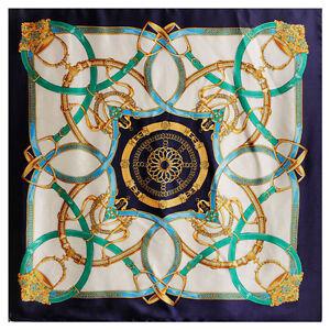 "Women's Printed Silk-Satin Square Scarf of Fashion Chain Shawl Hijab 35*""35"""