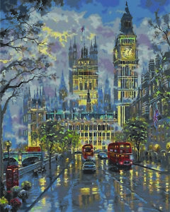"""DIY Paint By Number Kit 16X20/"""" Colorful Rain Street Oil Painting Paint On Canvas"""