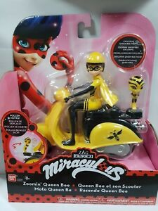 Bandai-Miraculous-Action-Figure-Queen-Bee-on-a-yellow-scooter-RARE-Original