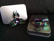 2x Color Rainbow Aluminum Metal Tri Hand Finger Spinners two Fidget EDC Desk Toy