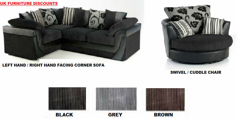 Fabulous Details About Brand New Lucy Lush Corner Sofa Suite Cuddle Swivel Chair Black Grey Brown Mink Gmtry Best Dining Table And Chair Ideas Images Gmtryco